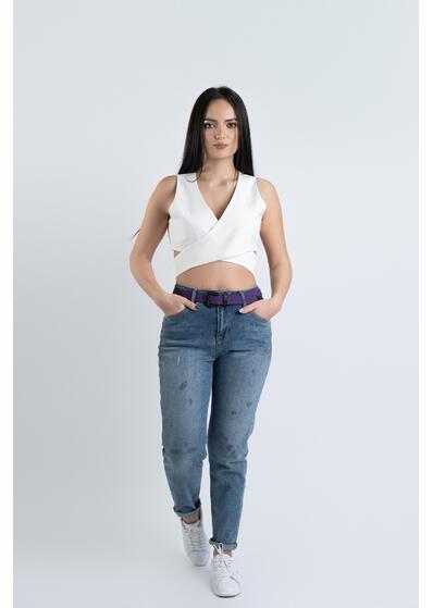 jeans de dama momfit albastru cu curea