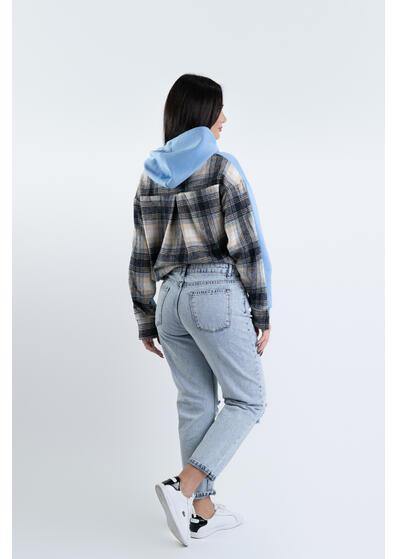 jeans albastru boyfriend rupti