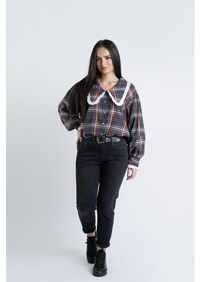 jeans negru dama boyfriend cu curea