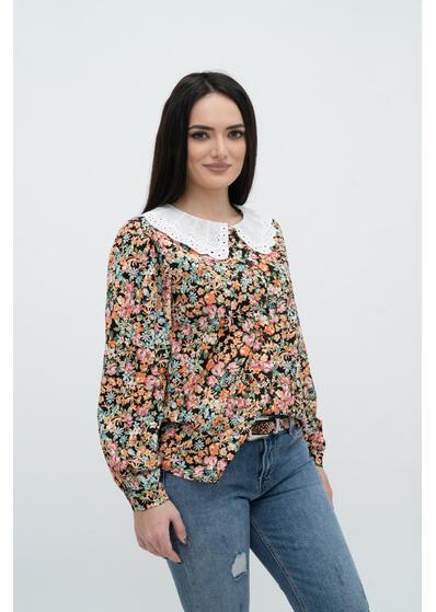 camasa bluza de dama cu flori si guler