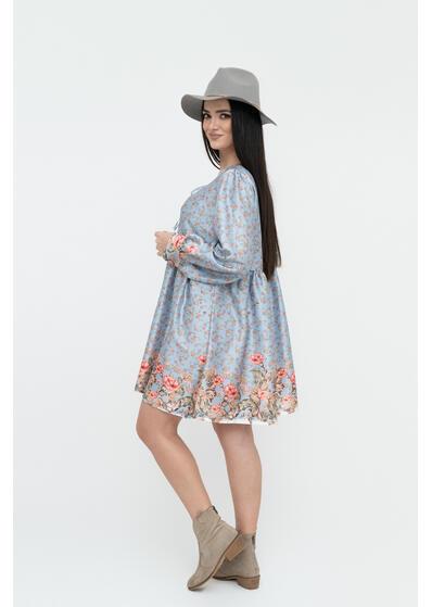 rochie scurta bleu cu flori