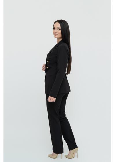 sacou de dama negru cu doua randuri de nasturi