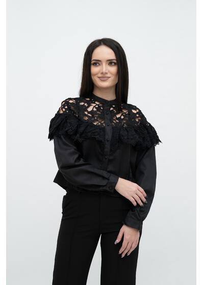 bluza neagra de dama eleganta cu dantela