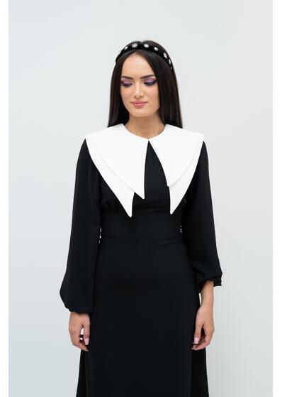 rochie midi neagra cu guler alb