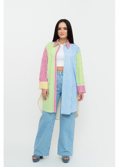 camasa de dama lunga cu dungi colorate