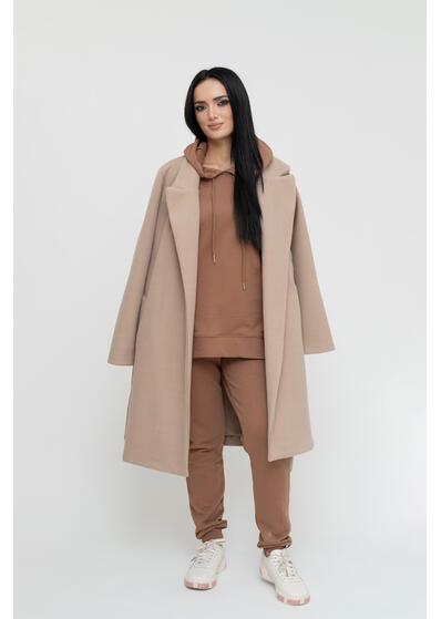 palton de dama crem cu cordon