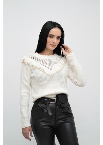 pulover dama alb cu perle de iarna elegant