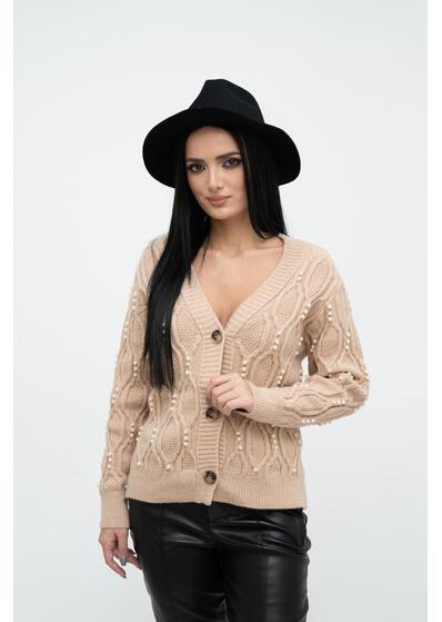 pulover de dama in nasturi cu perle crem de iarna gros elegant