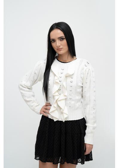 pulover de dama alb elegant de iarna cu perle