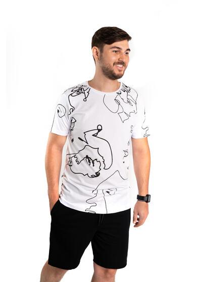 tricou barbati alb sport cu print abstract de vara