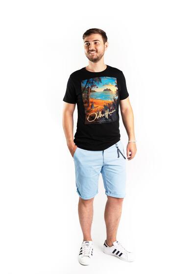 tricou barbati negru colorat print hawaii de vara