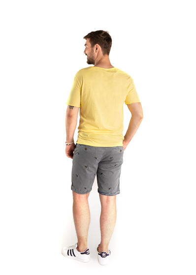 tricou barbati simplu uni galben bumbac de vara