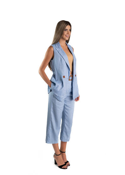costum dama bleu din in cu pantalon larg vesta de zi vara elegant