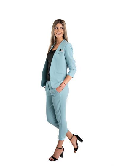 costum dama elegant office de vara ocazie cu pantalon lung sacou