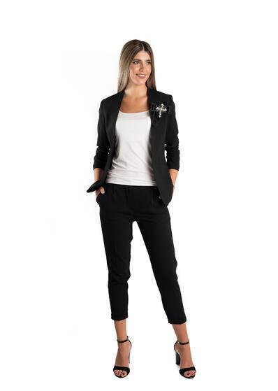 costum office elegant negru cu sacou si pantalon lung