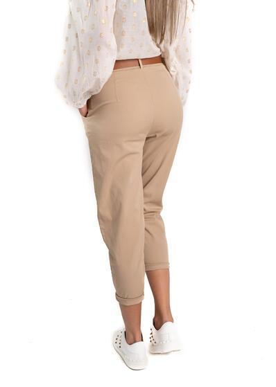 Pantalon camel cu curea
