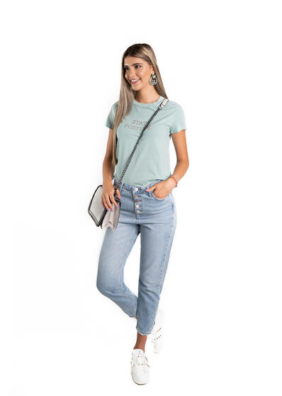 jeans blug dama cu nasturi metalici talie inalta mom fit
