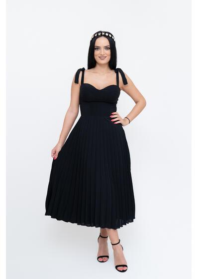 rochie eleganta neagra cu pliuri