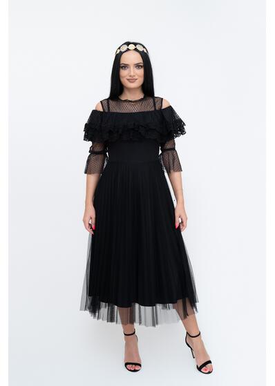 rochie neagra eleganta de seara cu dantela tull