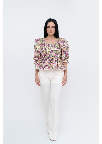 bluza camasa colorata cu floricele si volane