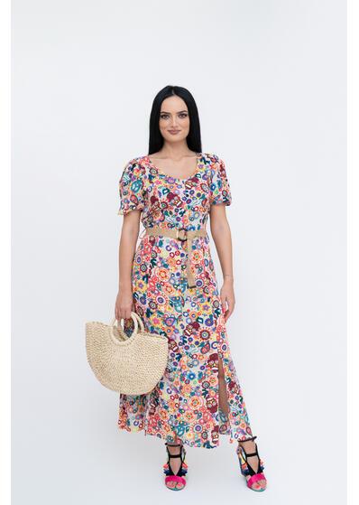 Rochie colorata din in