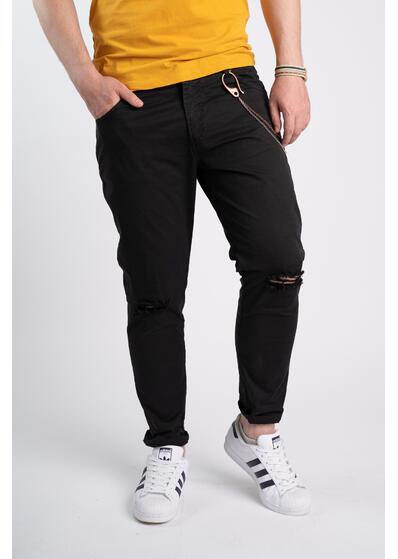 Pantalon casual cu accesoriu lant